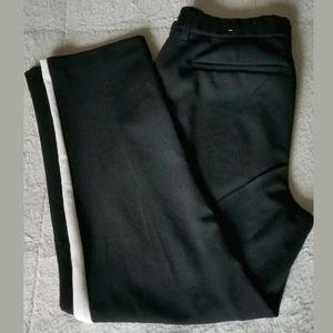 Fashion Nova Casual Black White Side Stripe Pants